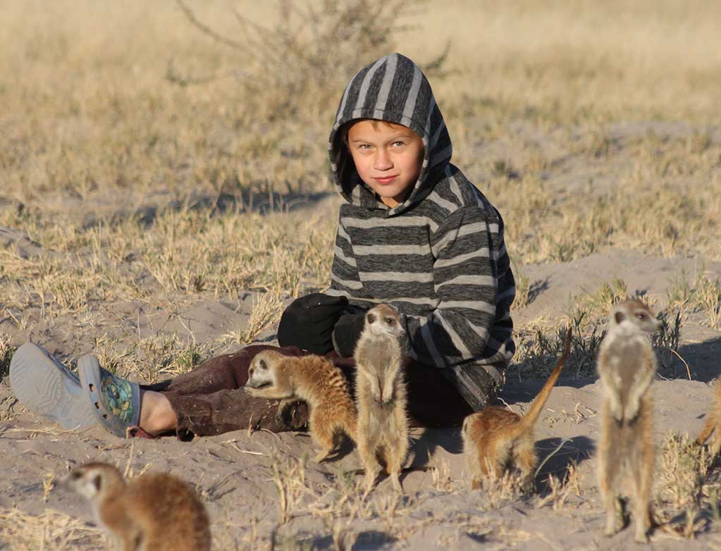 Child with meerkats at Planet Baobab